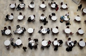 Students relax in a restaurant at the University of Zurich