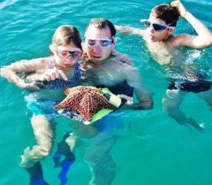 Swiss-Re-Berater Tomer Lanis inspiziert mit seinen beiden Kindern einen Seestern.