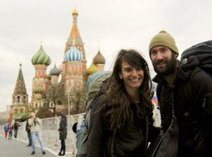 Gwendolin Weisser und Patrick Allgaier auf Zwischenhalt in Moskau.