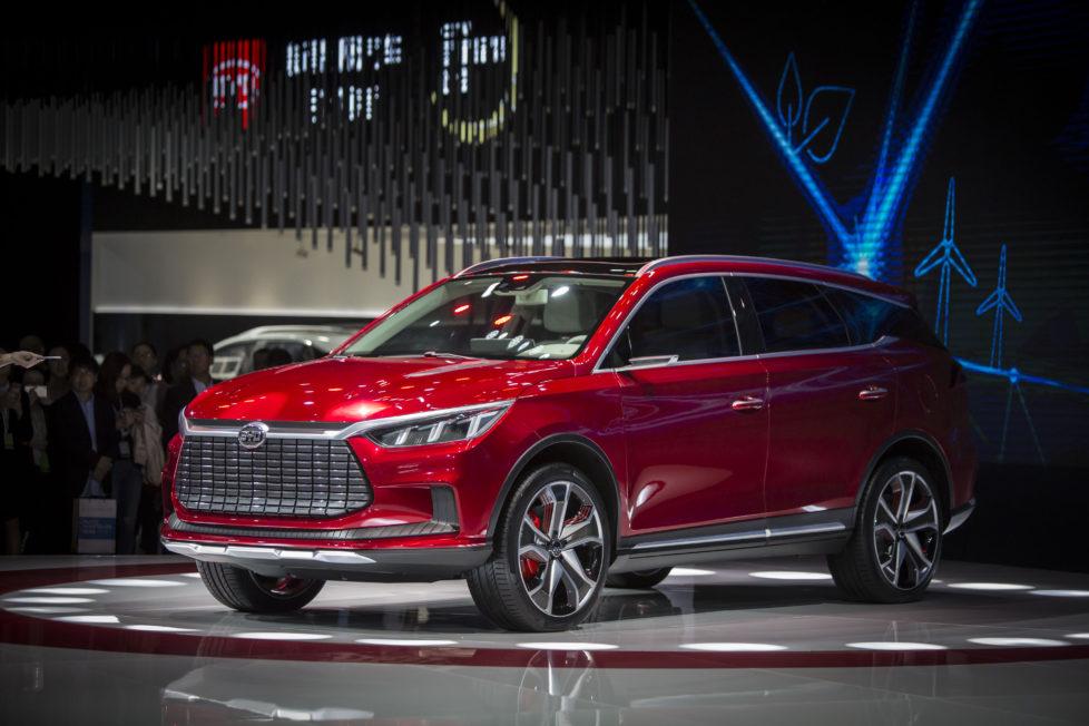 Shanghai Auto Show 2017: Build your Dreams steht hinter dem Firmenkürzel des Elektromobilherstellers BYD – Bau dir deine Träume. Foto: Getty