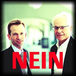 Die Buergerlichen Stapi-Kandidaten, Alexandre Schmidt (FDP) und Beat Schori (SVP). © Manu Friederich