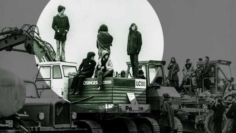 1975 brach der innerlinke AKW-Konflikt aus: Mehrere hundert Leute der Gewaltfreien Aktion Kaiseraugst besetzen am 1. April das Baugelände des geplanten Atomkraftwerks im Kanton Aargau. Foto: Keystone
