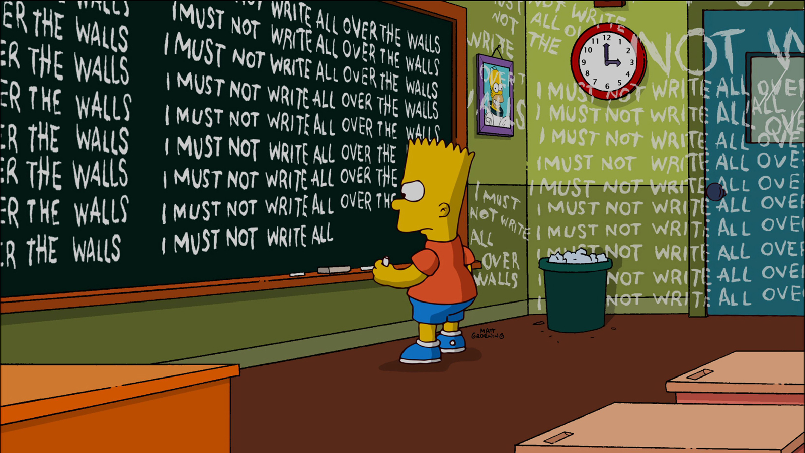 Mantra mit zero Spirit: Bart Simpson bei einer seiner zahlreichen Wandtafelbestrafungen. (Screenshot)