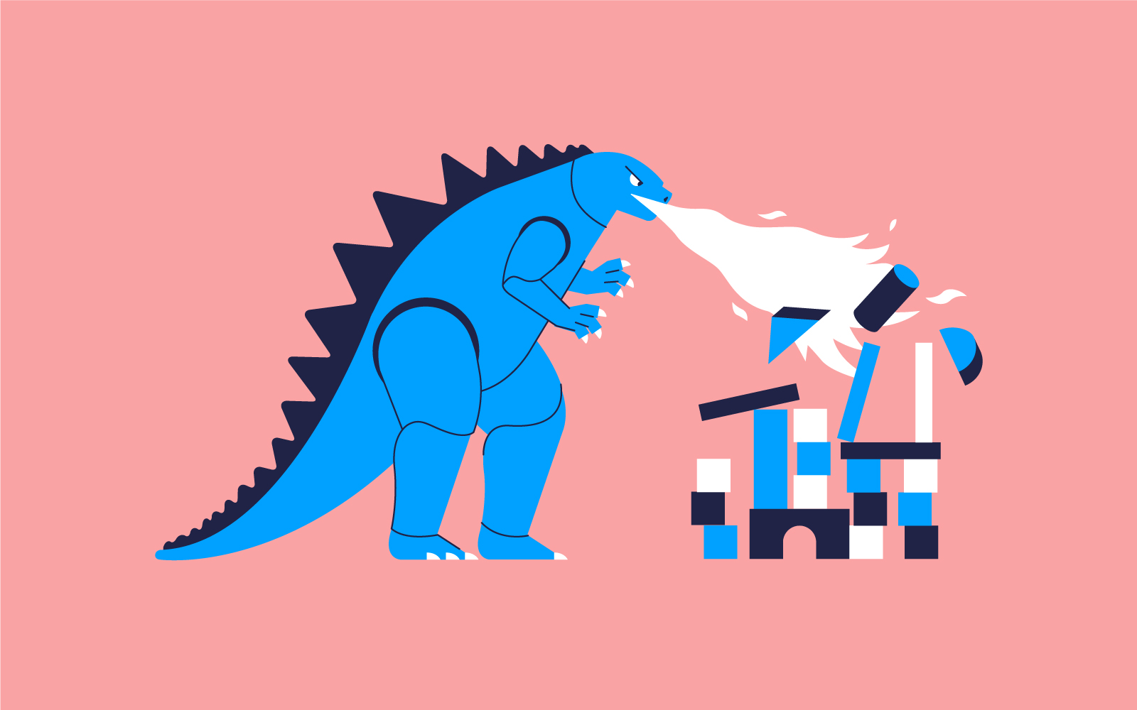 Plastikgodzilla gegen Holzklotztürme – wer gewinnt? Illustration: Benjamin Hermann