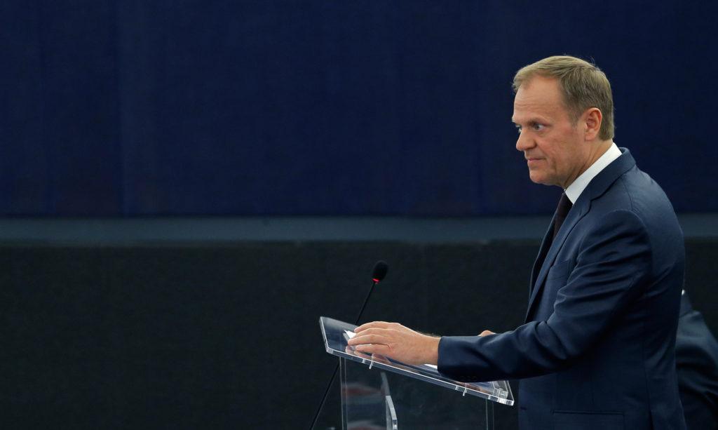 Fürchtet sich vor den möglichen Folgen eines Brexits für die Welt: EU-Ratspräsident Donald Tusk in Strassburg. Foto Vincent Kessler (Reuters)