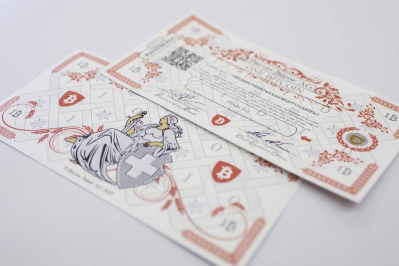 Auch gedruckt ist es kein richtiges Geld: Scheine für Bitcoins. Foto: Alexandra Wey (Keystone)