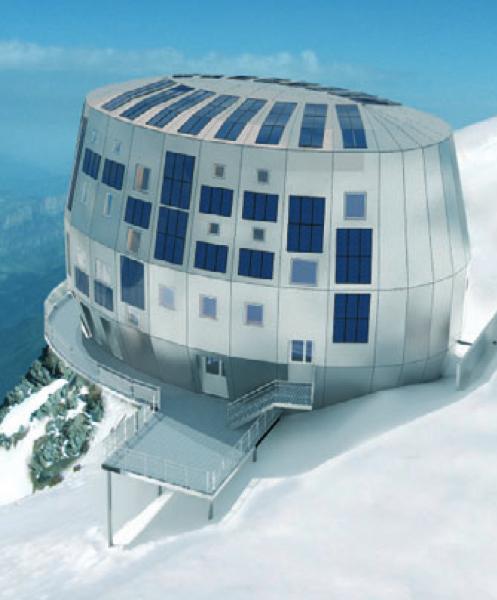 Das Refuge de Goûter am Mont Blanc.
