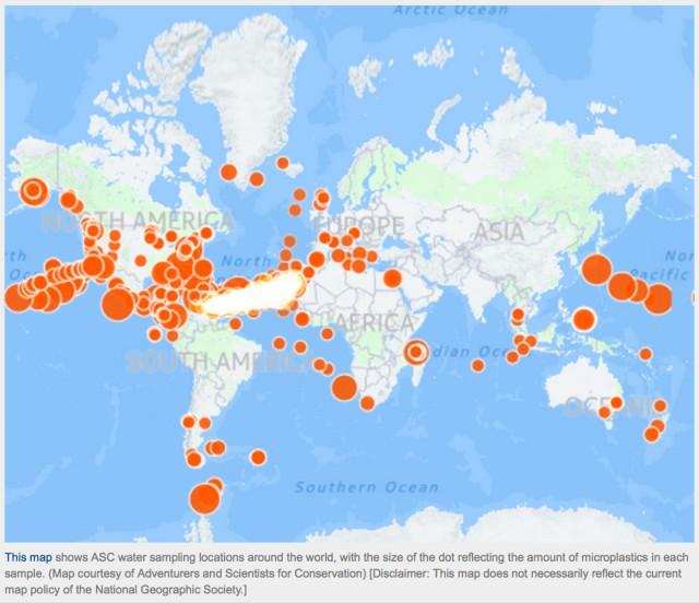 Mikroplastik überall: Je grösser die orangen Punkte, desto mehr Partikel im Wasser. (Bild via Adventurers and Scientists for Conservation / National Geographics)