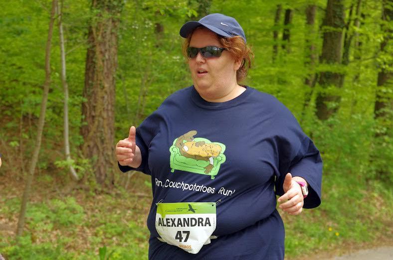 «Run Couchpotatoes Run»: Alexandra Baumann auf den Weg zum Ziel. Foto: PD