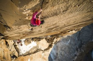 Mayan Smith-Gobat climbing pitch 31 (7c+)in the route riders on the storm, Torres del Paine