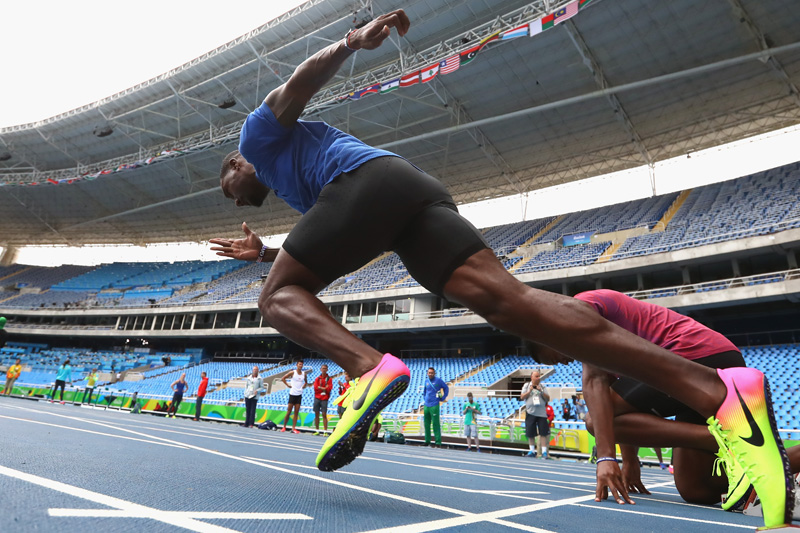RIO DE JANEIRO, BRAZIL - AUGUST 10: Justin Gatlin of USA starts during a training session at Olympic Stadium on August 10, 2016 in Rio de Janeiro, Brazil. (Photo by Alexander Hassenstein/Getty Images)