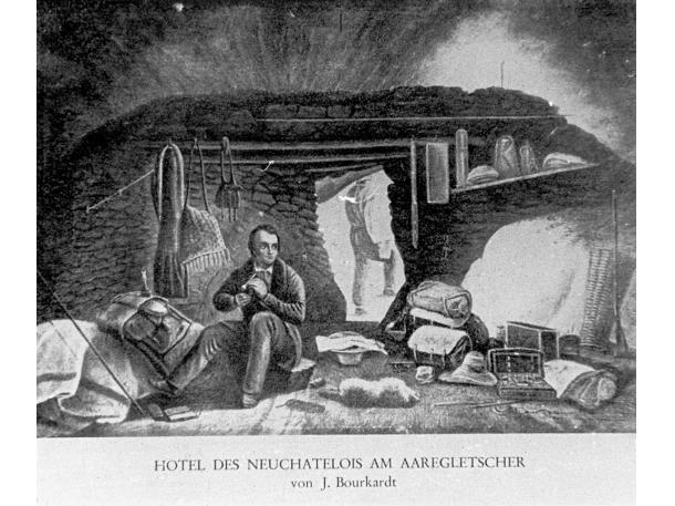 Das «Hôtel des Neuchâtelois» auf dem Unteraargletscher: Agassiz und seine Kollegen forschten hier in den 1840ern. Ihre Arbeit erregte die Neugier eines internationalen Publikums, Touristen kamen auf die Grimsel.