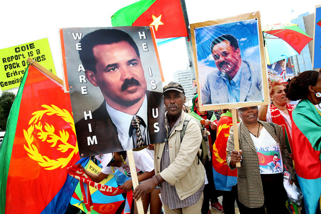 "Eritreans and friends of Eritrea in Europe, outraged by the recent unwarranted attack on the state, people and government of Eritrea by the UN Human Rights Council (HRC) Commission of Inquiry (COI) and Special Rapporteur Report on the Human Rights situation in Eritrea, are holding a mass protest rally on the ""Place des Nations"" in front of the European headquarters of the United Nations, in Geneva, Switzerland on Monday 22 June, 2015 to protest the deceitful representation of the Human Rights situation. (KEYSTONE/Magali Girardin)"
