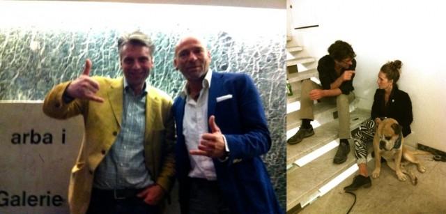 Galerist Nic von Senger, Sammler Oliver Onken (l.). Architektin Katharina Werner mit Hund Boss