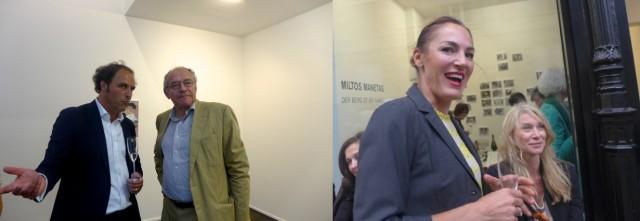Der Galerist und Vernissagengästen: Anwalt Christoph von Graffenried, Künstlerin Eugenia Burgo, Grafikdesignerin Karin Erdmann