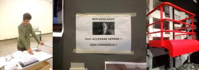 Student erklärt, Rem Kohlhaas muss reingelassen werden, Balkon der Moderne