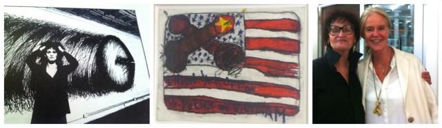 Judith Bernstein in den 70-er Jahren (links, vor ihrem Werk «Horizontal Plus #3»), Bernstein-Gemälde «Jackoff Flag von 1975», Judith heute mit der Sammlerin Gitti Hug