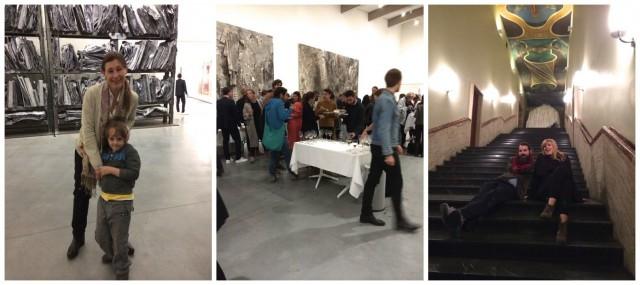 Katya Garcia-Anton, ehemals Centre d'Art Contemporain in Genf, jetzt die norwegische Mme Kunst, Festsaal im Museum, Künstler Fabian Marti und Lena Henke auf der Treppe des Künstlerhauses