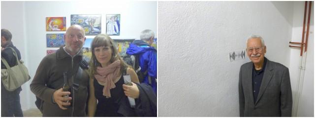 Künstlerin Monika Stalder mit Andreas Hagenbach, Henry F. Levy steigt die Treppe mit Stalders Rhombenmustern hoch