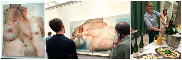 Blicke auf Werke »Ruben's Flapp», «Fulcrum» sowie (rechts): Dank der österreichischen Grosszügigkeit knallen an einer Vernissage im Kunsthaus wieder Korken. Österreich hat den grünen Veltliner und Liptauer-Schnittchen gespendet