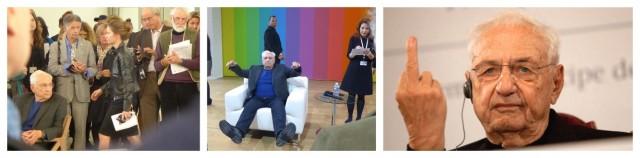 Die Chronik einer Aufregung (von links): Frank Gehry m Freitag, dem 18.10., in Paris - nachdenklich, am Montag, dem 20.10., in Paris - scherzend, am Freitag, dem 25.10, in Asturien - entnervt.