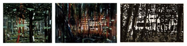 Peter Doig: «Concrete Cabin» 1991, «Cabin Essence» 1994, das gleiche Sujet als Druckgrafik