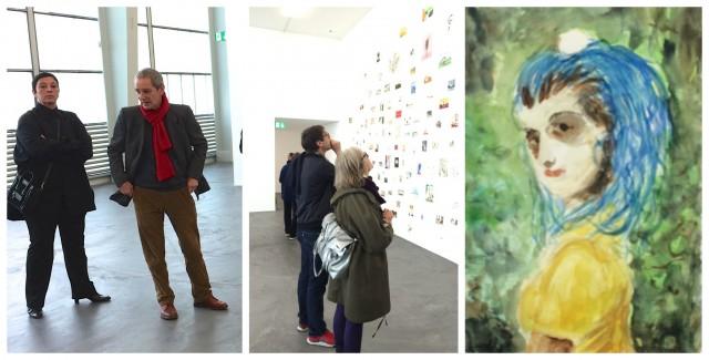 Die Scheidende Direktorin Beatrix Ruf und Künstler Thomas Müllenbach führen durch die Ausstellung, der kommende Direktor Daniel Baumann und Grafikerin Trix wetter vor Müllenbachs Serie «Halboriginal»