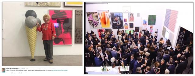 Die Galas des Swiss Institute sind immer ein Vor-Art-Basl-Miami-Beach-Highlight in New York, das Gedränge war gross, und selbst die Sexepertin Ruth Westheimer(links)  kam und twitterte begeistert vor einer Skulptur der deutschen Künstlerin Sarah Ortmeyer