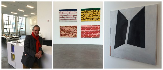 Thomas Müllenbach am Welcome-Desk der Kunsthalle, «4 x Wall», 2011; «Schwarzes Quadrat», 2010