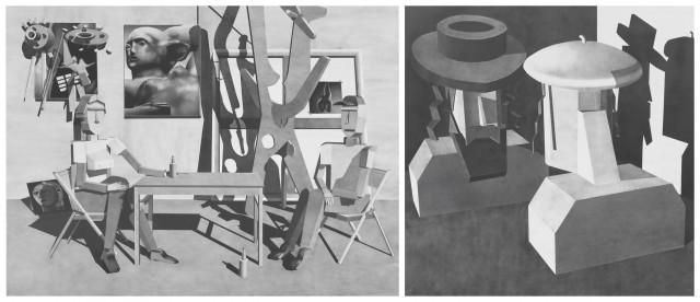 Avery Singer: «The Studio Visit», 2013 und «Jewish Artist and Patron», 2012
