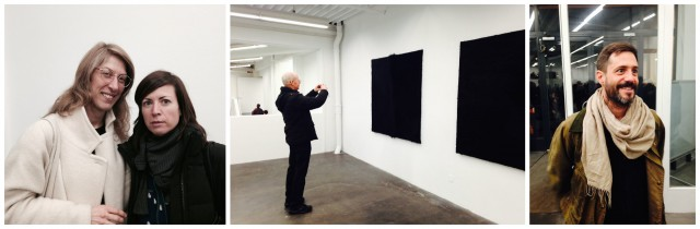 Links: Die neue Kunstleiterin der HGK Basel Chus Martinez (in schwarz) mit Nadja Solari, Mitte: Kuhfell-Monochromie von Oliver Minder, rechts: Kilian Rüthemann