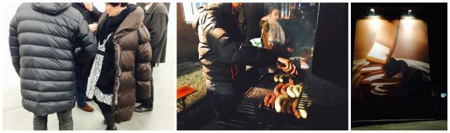 In Sachen Mode gibt man sich Basel pragmatisch, die wattierte Jacke ist Programm (Links), Teenagerarbeit am Grill (Mitte), Schoggi-Kunstwerk von Rüthemann an der Fassade