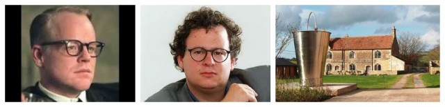 Schauspieler Seymour hoffman (links), Iwan Wirth (Mitte), perfekte Filmlocation: Hauser & Wirth in einem Haus aus dem 17. Jh in Somerset, GB