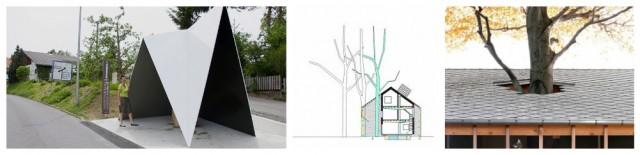 De Vylder Vinck Tailleu: Bushaltestelle in Krumbach, das um einen Baum herum gebaute Haus Bern Heim Beuk
