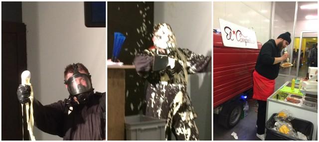 Zwei Mal Mayo: In der Performance von Oddur Roth als Duschmittel, auf dem Hot-Dog-Stand El Companero als Ziermittel für Würstchen