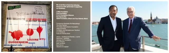Kritisches Werk der Gruppe Gulf Labor, Liste der Sponsoren, der Kurator Okwui Enwezor und Präsident Paolo Baratta