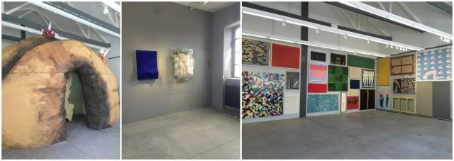 Teile der legendären Prada-Sammlung: Natalie Djurbergs «Potato», dicht gehängte Auswahl, Yves Kleins «Vague» von 1957 und Piero Manzonis «Achrome» von 1962