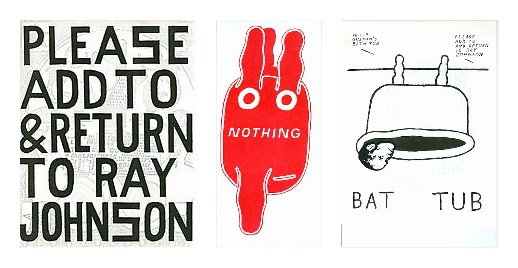 Ray Johnsons Mail Art, Beispiele seines unnachahmlichen Humors