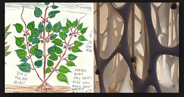 Organisches Wissen: eine Zeichnung aus dem Buch des Heilens, Struktur einer Skulptur von Neto