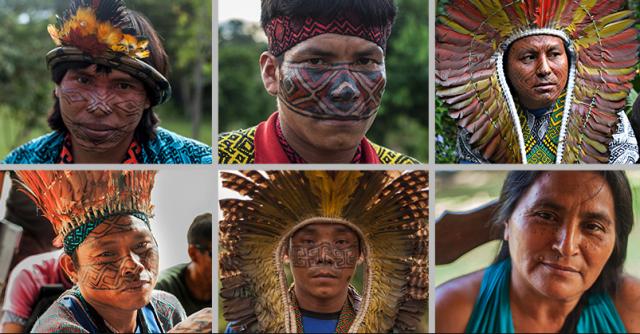 Delegation aus dem Urwald: Die Gäste aus dem Volk der Huni Kuin mit der traditionellen Gesichtsbemalung