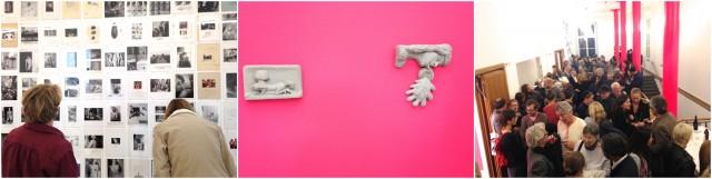 Guckiguck: Kleinteiliges und Explizites von André Gelpke, Ton auf pink kommt gut: Sabina Baumann, Vernissagen-Ekstase im Treppenhaus