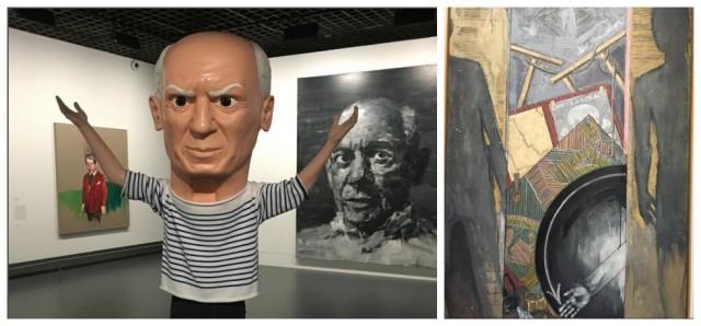 Maurizio Cattelans Skulptur vor Pei-Ming Yans Porträt, rechts Jasper Johns Reverenz