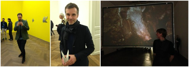 Galerist stefan von Bartha, Basels Kulturchef Philippe Bischoff (hielt die Eröffnungsrede), ein Wildschwein im Effingers Video