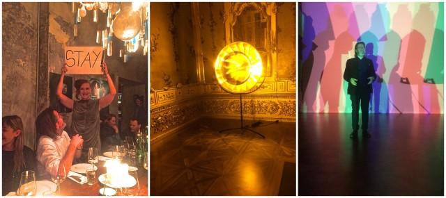 Francesca von Habsburg mit dem «Stay»-Panel an der Eröffnung der Schau von Olafur Eliasson in Wien, Eliassons Sonne im Winterpalais, Eliasson beim Vortrag in der Ausstellung
