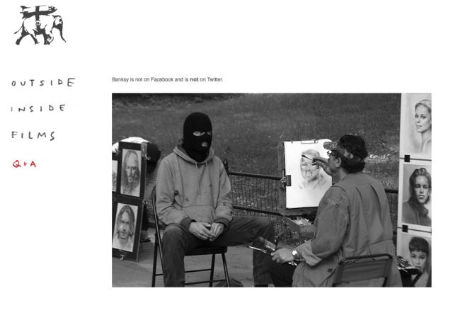 Diesen Update zu seiner Homepage hat Banksy erst am Wochenende hinzugefügt - seine Art, der Usurpierung einer falschen Autorschaft entgegenzuwirken