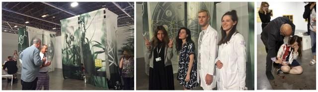 Art Basel Miami Beach: Die Installation «Swamp of Sagitarius», die Künstlerin Naomi fisher (zweite von links), der Angriff, der wie eine Performance wirkte