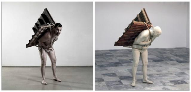 «A Home to Go», links der Künstler selbst als menschliche Häuschenschnecke