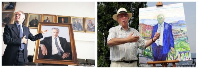 Links wie rechts die gleichen Posen: Alt-Bundesräte Moritz Leuenberger und Christoph Blocher