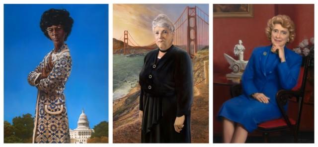 Auch die Kongressdamen mögen Porträts: Shirley Anita Chisholm, Edith Nourse Rogers und Corinne Clairborne Boggs, gemalt von Kadir Nelson, Howard Christy und Ned Bittenger