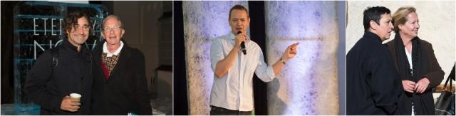 Architekt Alfredo Brillenbourg mit dem unternehmer Beat curti, der Chef der Zürcher Manifesta erklärt sein Konzept, die Gründerin der EAT Cristina Bechtler im Gespräch mit beatrix Ruf, Direktorin des Stedelijk Museum in Amsterdam und Moderatorin der Veranstaltung